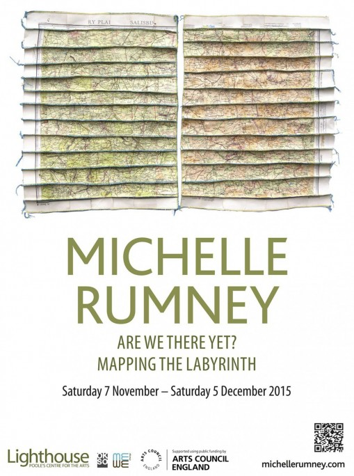 """Michelle Rumney """"Are We There Yet? Mapping the Labyrinth"""" poster for exhibition at Lighthouse Gallery Poole"""