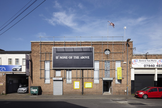 Harry Meadley (Shhhhhhhhh), 2015, 48-sheet billboard poster on facade of Eastside Projects during the 2015 general election