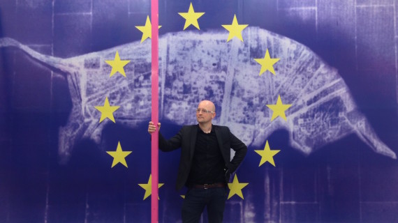 Gavin Wade, pictured in front of billboard work, Europa and The Bull, 2014, based on Trewin Copplestone's lost 'Charging Bull' 1963 public sculptures in Birmingham, taken down in 2003. Photo: Nathaniel Pitt