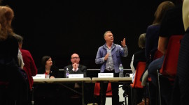 Gordon Shrigley (standing), campaign hustings, Hackney, 2015