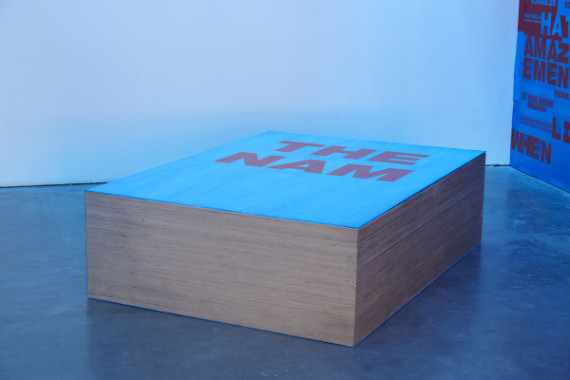 Fiona Banner, Not so Much a Coffee Table Book, As a Coffee Table, 2015. Installation, Ikon Gallery, 2015. Courtesy the artist and Ikon Gallery. Photo: Stuart Whipps