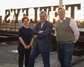 Tetley creative director, Bryony Bond with board chair Gerald Jennings and CEO Dirk Mischendahl. Photo: Andy Manning