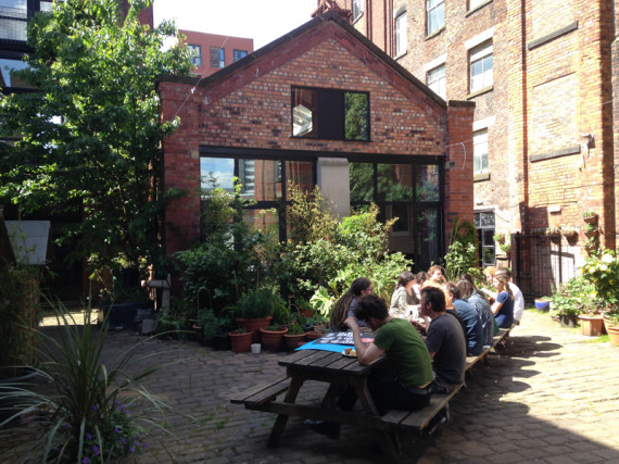 Potluck Lunch in courtyard at Islington Mill (2014)