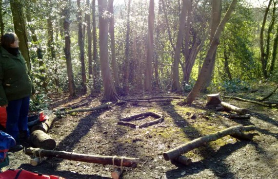 forest school fire circle in sunshine before session begins