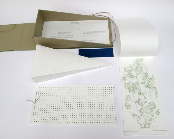 The Gardens I, Jane Hyslop, A boxed set of objects including a digitally printed book, a perforated paper form, an original gouache and pencil drawing, and a fragment of dyed paper. http://www.janehyslop.com