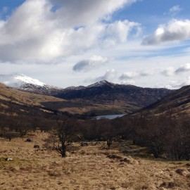 Looking down to the Glen Finglas reservoir.