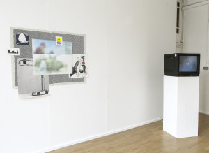 DECAPOD at AirSpace Gallery, Stoke-on-Trent, gallery installation view featuring Alex Dipple, Have a Laugh, 2015; and Dave Evans, Selected Preload Animations Round, 2016. Photo: Glen Stoker