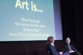 Art Is... event, Tate Modern,  Saturday 9 April 2016, Mike Fairclough, head teacher, West Rise Juniors (left) and Henry Ward, head of education, Freelands Foundation. Photo: Oliver Cowling, Tate