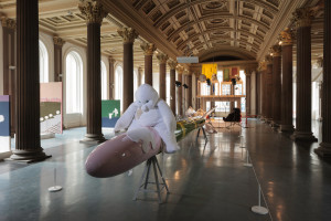 Cosima von Bonin, Who's Exploiting Who in the Deep Blue Sea?, Installation view, GoMA, Glasgow International 2016. Photo: © Ruth Clark