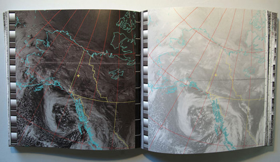 YOU ARE HERE, Heidi Neilson, 2015. Digital offset printed, 500 pages. Satellite transmissions captured on a home-built antenna were converted to reveal spectacular images of Earth and its weather patterns. Each spread depicts one pass of a weather satellite with the location of the antenna in Yukon Territory, Canada marked by a tiny yellow cross. Photo: Heidi Neilson http://heidineilson.com