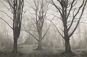 George Shaw, Hanging Around (Landscape without Figures), 2012, Ink on paper, 198 x 305 cm. © Courtesy : The Artist and Wilkinson Gallery, London