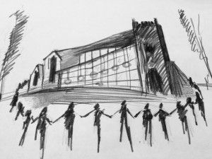 Sketch of clipping St Barnabas Church, by Tereza Buskova