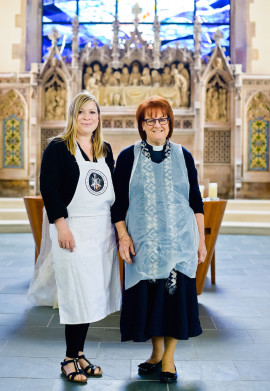 Artist Tereza Buskova with St Barnabas Church Parish Priest Freda Evans