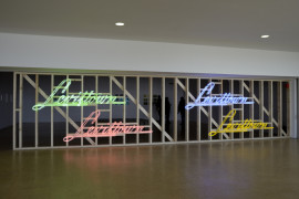'Levittown green, pink, yellow, blue (Learning from Las Vegas,2016' Neon  advertisement , timber screen, (Commissioned by De La Warr Pavilion) Courtesy De LA Warr Pavilion