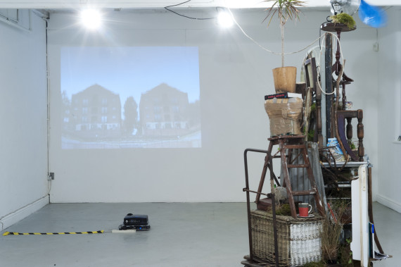 Installation view including Hilary Jack's To Hell in a Handcart installation, 'Progress' exhibition, Rogue Artists' Studios, Manchester, 5-12 June 2016. Photo: Jan Chleblik (http://www.janchlebik.co.uk)