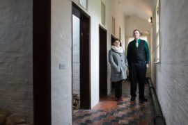 Artist Catherine Bertola with James Etherington of the Workhouse Museum