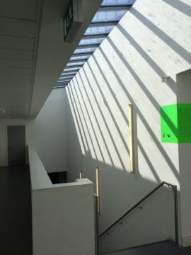 The skylight over the staircase fills the interior with light.
