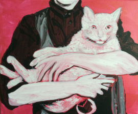 Woman with a cat, acrylic on canvas, Helen Dryden 2016