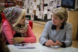 Artist Suzanne Lacy (right) in Brierfield Library. Photo: William Titley. Courtesy: Super Slow Way