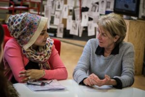Artist Suzanne Lacy (right) in Brierfield Library. Photo: courtesy Super Slow Way
