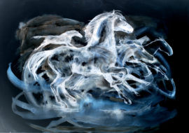 DIANA HAND BLUE RUNNING HORSES LO RES