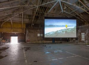 John Akomfrah, Mnemosyne, installation view, Estuary 2016 festival, Tilbury Docks