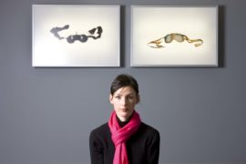 Artist in residence Jacqueline Donachie with her art-work in the centre for Health Science in Inverness