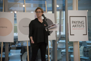 Jeanie Scott, executive director of a-n, speaking at the launch of Exhibition Payment: The a-n/AIR Paying Artists Guide. Photo: Kirstin Sinclair