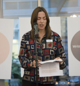 Shonagh Manson, director of Jerwood Charitable Foundation and Jerwood Visual Arts, speaking at the launch of Exhibition Payment: The a-n/AIR Paying Artists Guide. Photo: Kirstin Sinclair