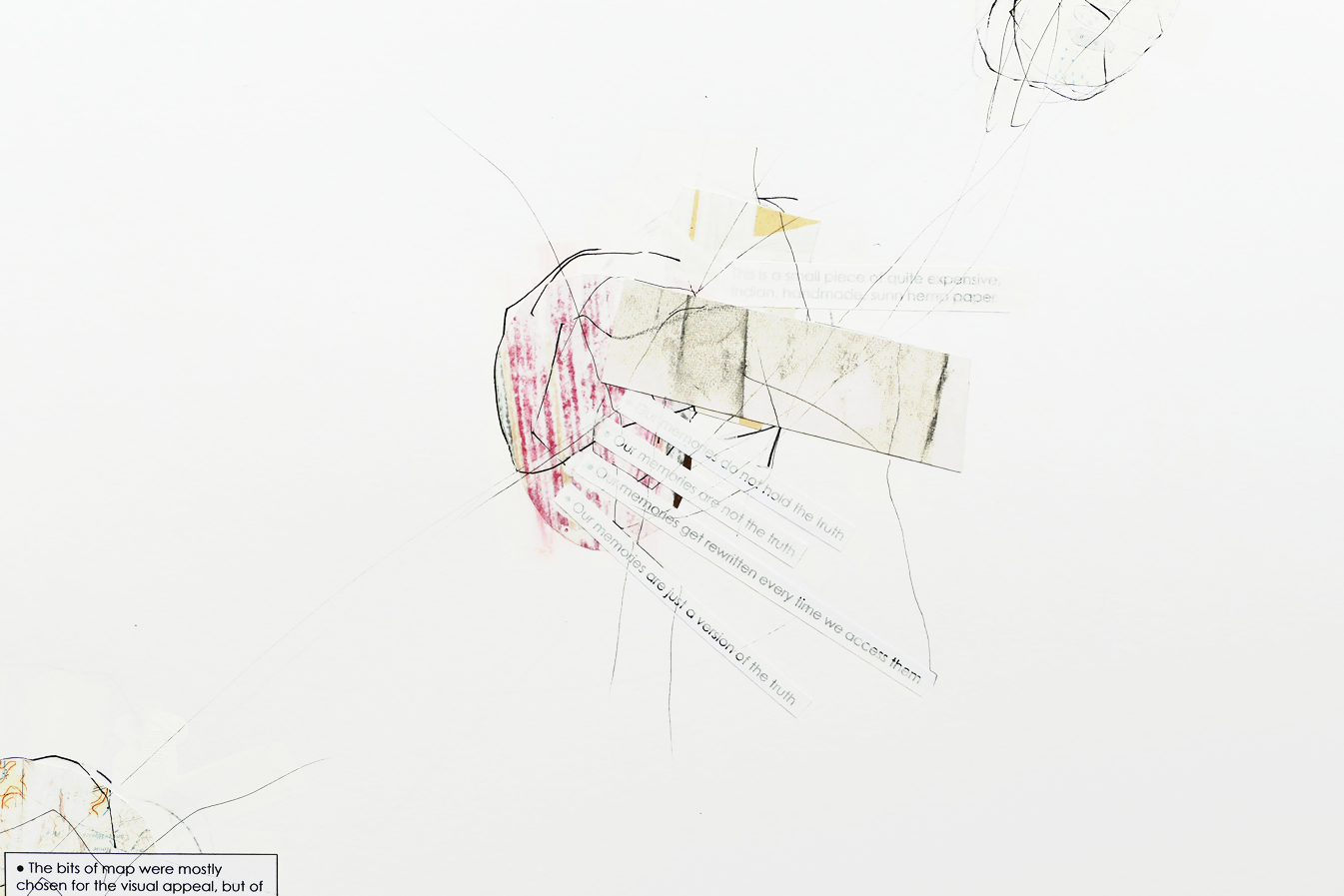 Detail of abstract minimalist collage & drawing by David Smith