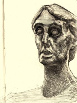 Drawing, of a bust of Virginia Woolf by Stephen Tomlin