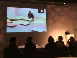 Louise Wilson speaking at the launch event of Untitled: A Strategic Plan for Visual Arts in North East England.