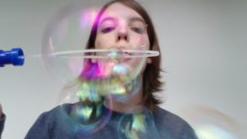 Myself blowing bubbles