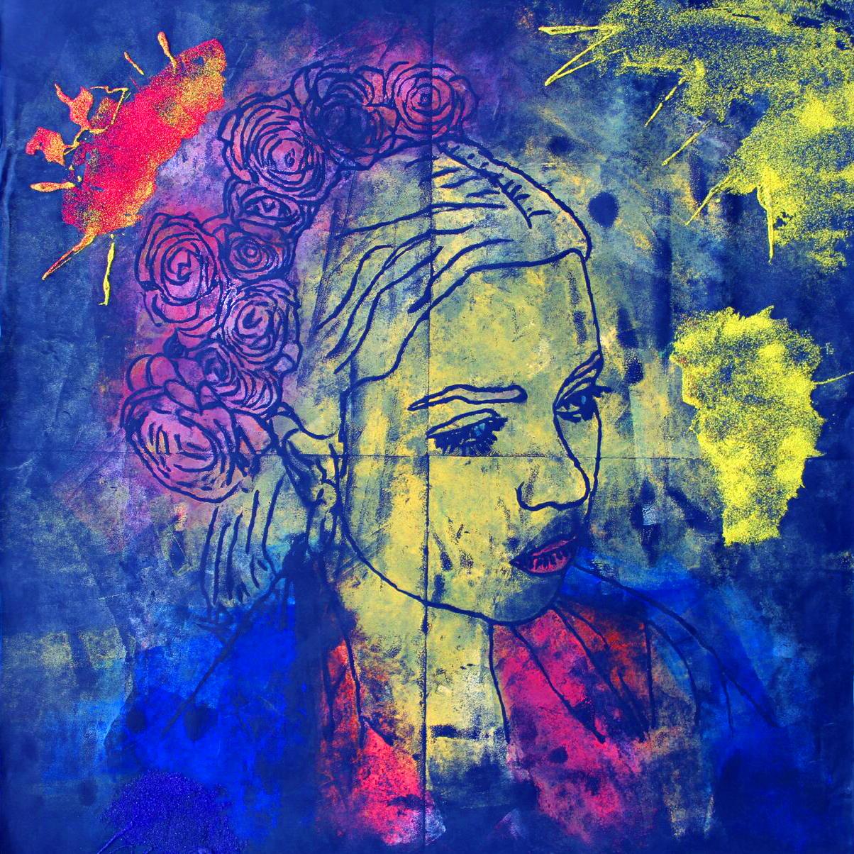 Blue Portrait Limited Edition Giclee Print by Natasha Nejman