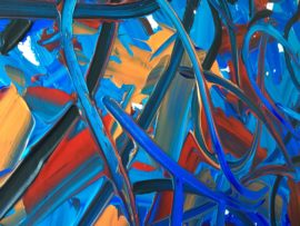 "Close up of ""Bluebell Field On A Fiery Summer Night"" acrylic on canvas original painting by London abstract Artist Vera Blagev, part of ""Blue Reverie"" series featuring oversized abstract floral compositions"