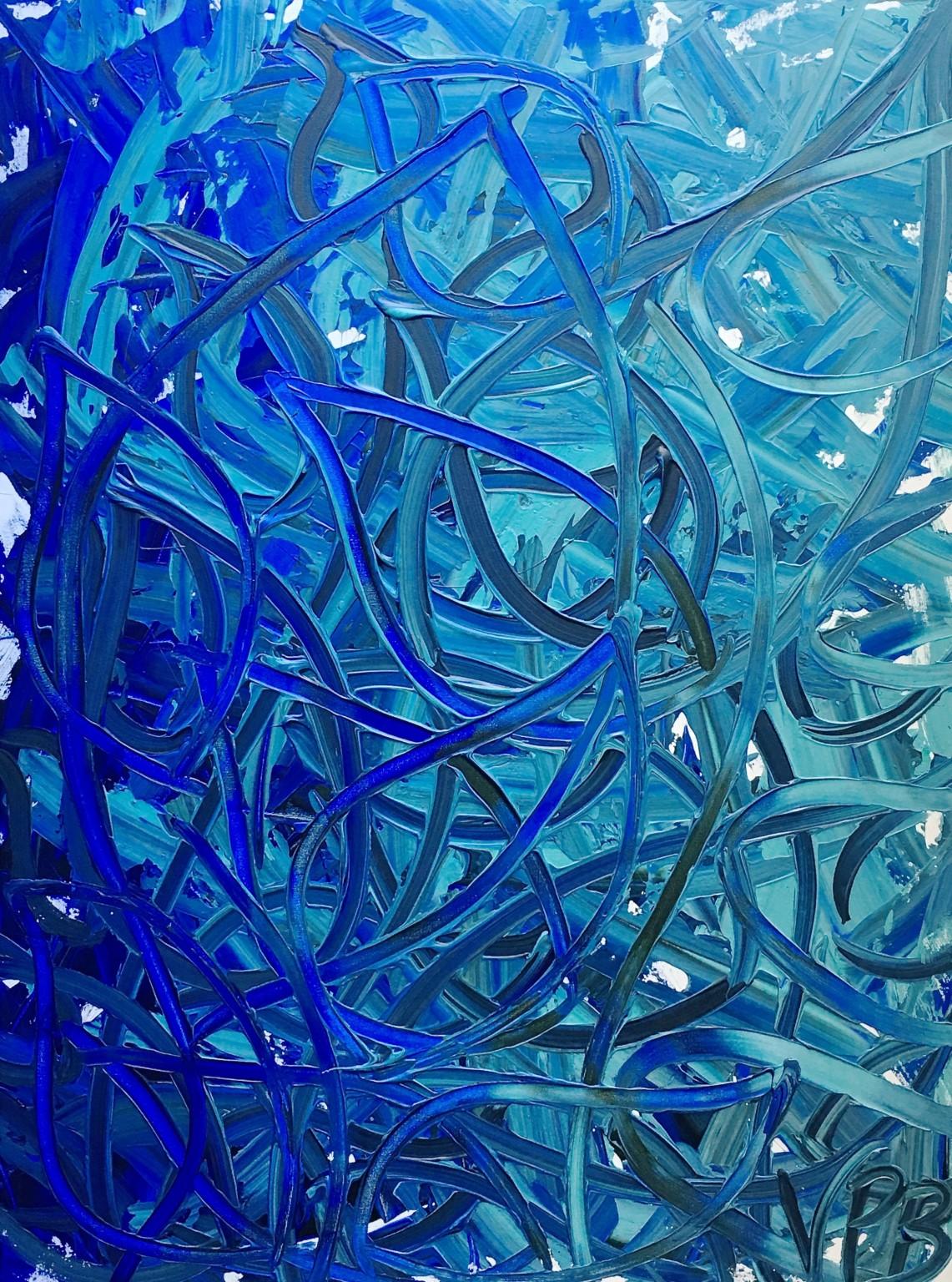 Floating Leaves Dancing In Spring Dawn original painting part of Blue Reverie series by Vera Blagev
