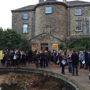 Protestors outside Inverleith House, Royal Botanic Garden Edinburgh, on 23 October 2016. Photo: Chris Sharratt