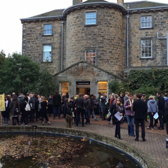 Protestors outside Inverleith House, Royal Botanic Garden Edinburgh, on 23 October 2016. Photo: Chris Sharratt