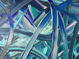 "Close up of ""Leaves In The Fresh Spring Air"" acrylic on canvas original painting by London abstract Artist Vera Blagev, part of ""Blue Reverie"" series featuring oversized abstract floral compositions"