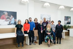 From left to right: Cara Tolmie, Lucy Beech and Edward Thomasson, Rachel Reupke, Ailís Ní Ríain, Daniel Kidane, Heather Leigh (sitting), Lucy Skaer and Sonia Boyce. Photo: Emile Holba / Paul Hamlyn Foundation