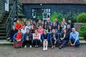 Group photo of Clore Fellows 2016/17 taken at the start of the fellowship, September 2016. Maurice Carlin back row, third from right. Photo: Hugh Hill