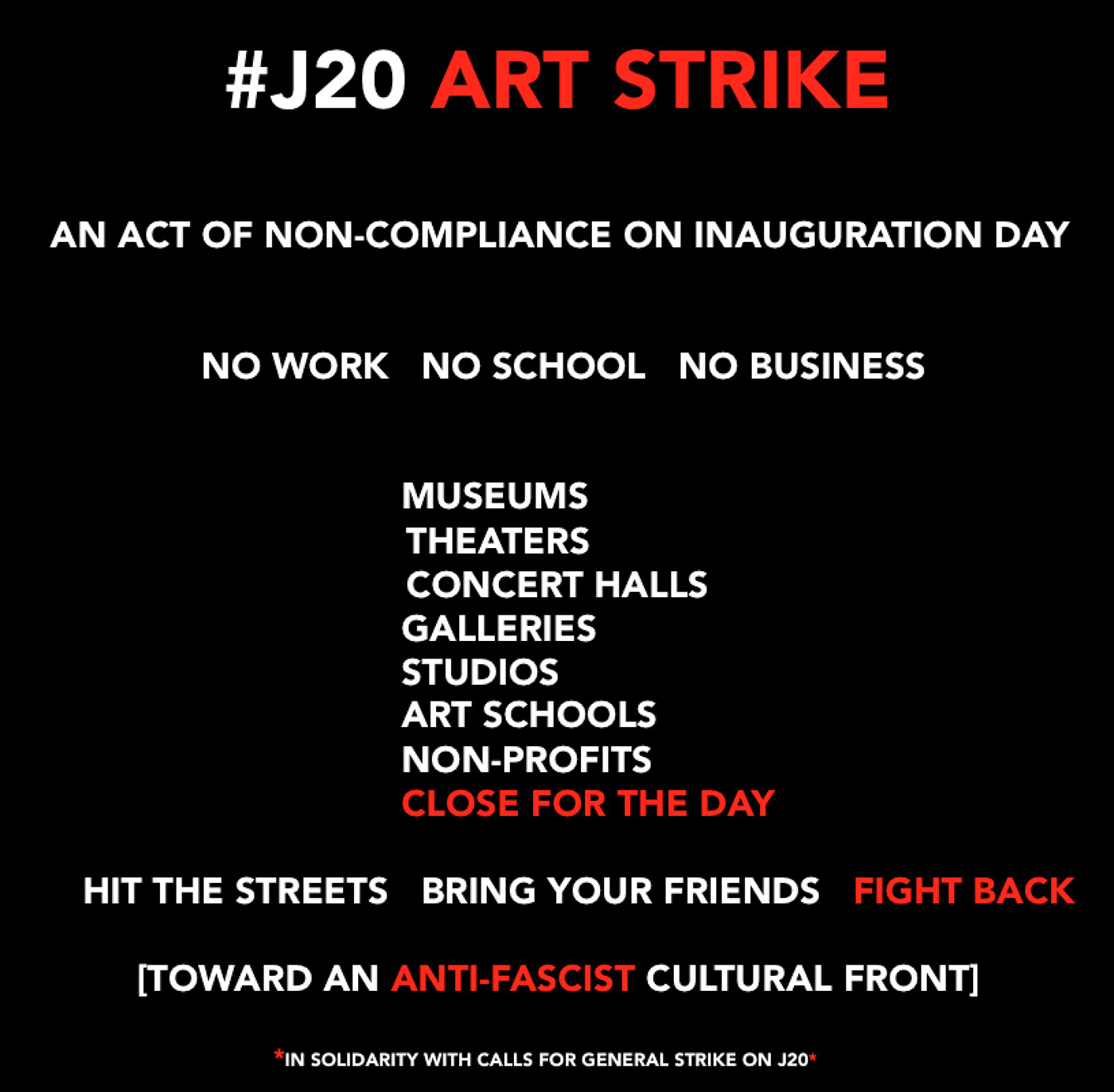 The #J20 Art Strike image circulating on social media