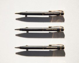 Set of seven engraved pens (detail)