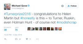 Turner Prize 2016 tweet by Michael Gove, MP.