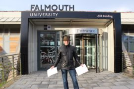 Tim Shaw delivers his letter to Falmouth University