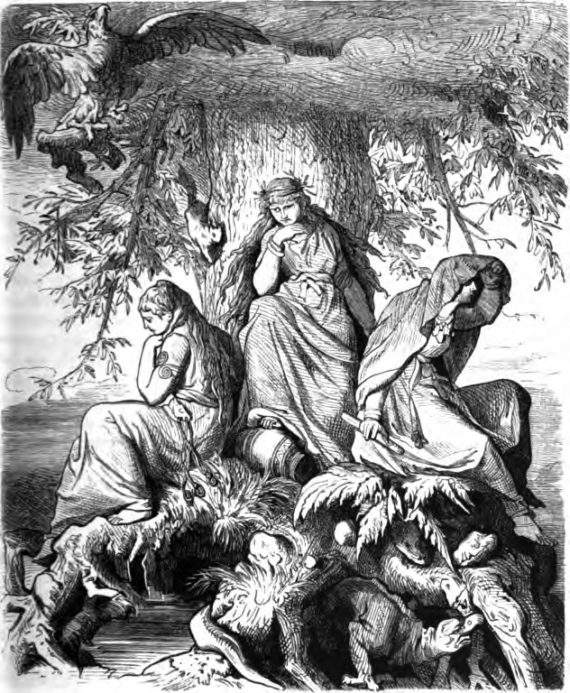 'The Norns Urd, Verdandi, and Skuld under the World-tree Yggdrasil' (1882) Ludwig Burger