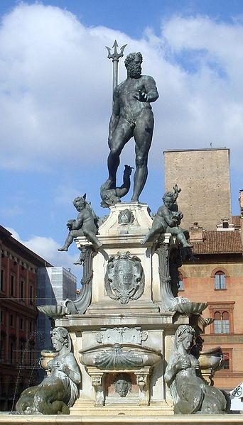 The Fountain of Neptune, by Jean de Boulogne, in Bologna, Italy. Photo: G. Dallorto