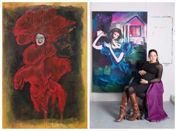"Nadine Talalla posing with her paintings ""Scarlet Woman, 2016"" and ""Catherine Tylney-Long's Downfall, 2016"""