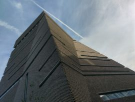 Photo of the exterior of the Switch House extension to Tate Modern, London