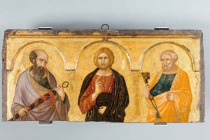 Pietro Lorenzetti, Christ between Saints Paul and Peter (c.1320), installation view, Ferens Art Gallery, Hull